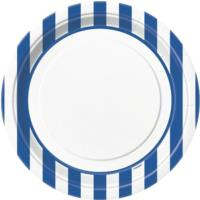 Royal Blue Striped Plates 9