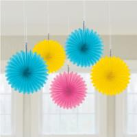 Multicoloured Paper Fan Decorations