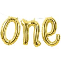 Age One Gold Balloon Bunting