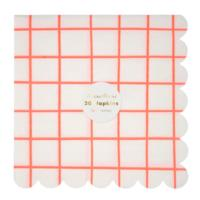 Neon Coral Grid Large Napkins