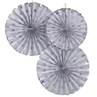 Silver Foiled Dotty Fan Decorations