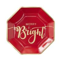 Gold Foiled Merry And Bright Plates